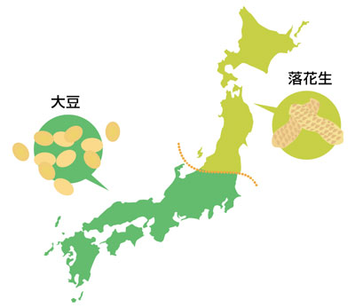 落花生 大豆 地図