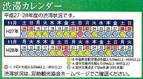 香嵐渓 渋滞カレンダー