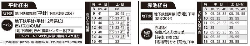 地下鉄「平針駅」または「赤池駅」からの、バスの時刻表