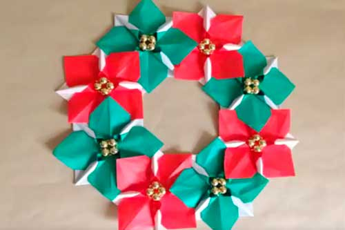 ポインセチアのクリスマスリース