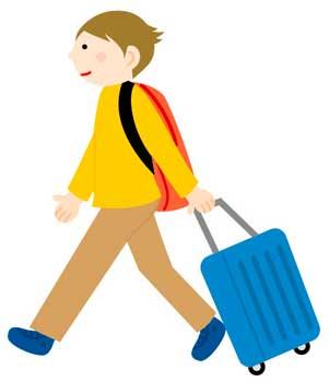 スーツケースを持つ男性